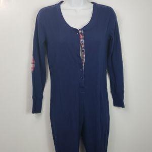 Jane & Bleecker union suit pajamas blue sz XS